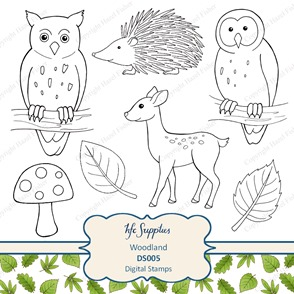 DS005 Woodland owl deerleaf digital stamps clip art 1