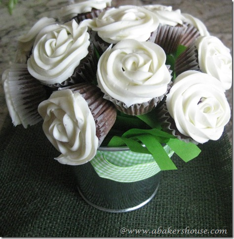 Cupcake Bouquet arrangement with mini cupcakes frosted to look like roses