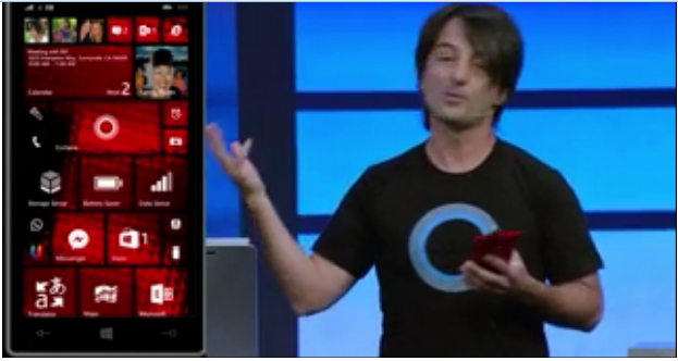 Joe demonstrating Cortana during the //BUILD/2014 conference