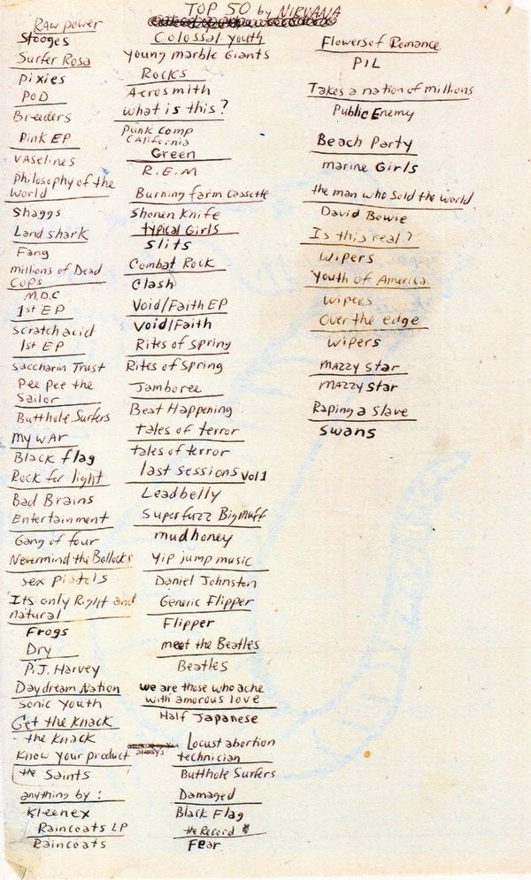 Kurt Cobain's Top 50 Albums
