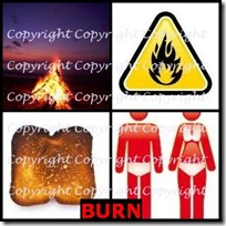 BURN- 4 Pics 1 Word Answers 3 Letters