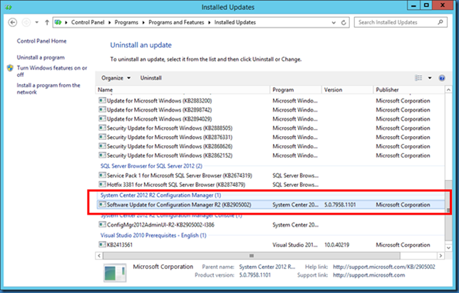 MINDCORE BLOG: ldentify if SCCM 2012 R2 hotfix 2905002 has been