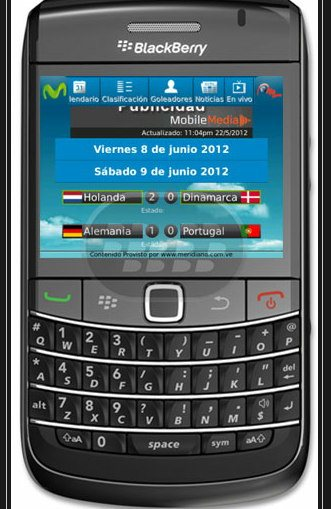 Aplicacion de la Eurocopa para Blackberry