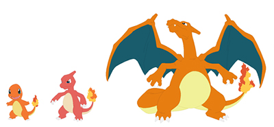 Charmander, Charmanleon, Charizard