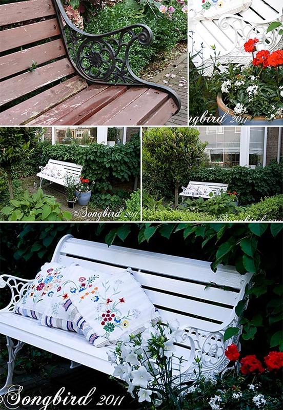 Songbird White Garden Bench Makeover