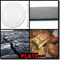 PLATE- 4 Pics 1 Word Answers 3 Letters