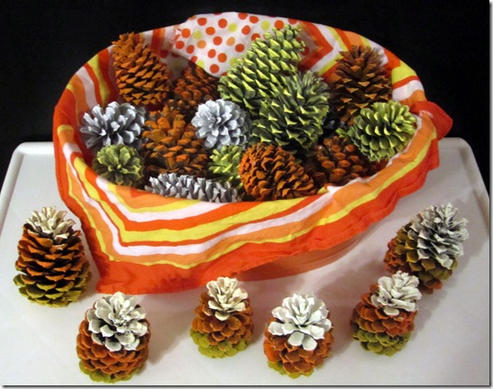 Basketful of Painted Pinecones