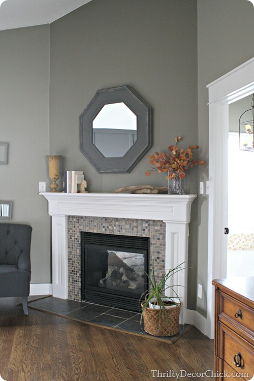 green walls fireplace