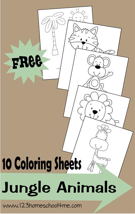 Coloring Sheets Jungle Animals