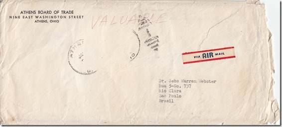 Mr. Pendry's Letter to Debs Webster January 3, 1952 Envelope