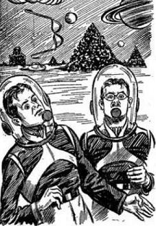 Part of the illustration accompanying the original publication in Thrilling Wonder Stories magazine of short story Bad Medicine by William Morrison. Image shows two human conmen on Saturn, selling what they think is colored water as a brain-enhancement drug to locals.