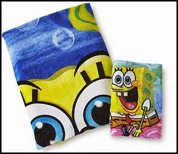 Spongebob Bath Towel and Washcloth