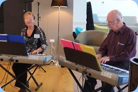 Diane Lyons and Peter Brophy playing their Korg Pa900's as a duet. Photo courtesy of Dennis Lyons.