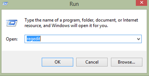Accessing the registry editor using the run command.