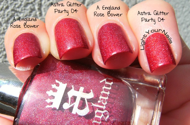 Astra Glitter Party 04 Red vs A England Rose Bower comparison