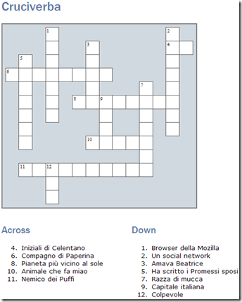 EclipseCrossword Parole crociate