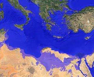 вид берега Северной Африки при увеличении уровня мирового   океана на 150 метров