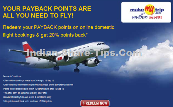 Redeem Payback points at Makemytrip and get 20% points back