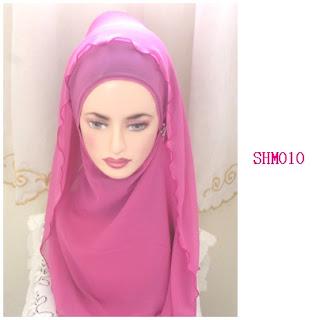 shawl halfmoon plain pink
