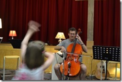 David practising his 'cello