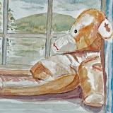 de eerste beer, aquarel