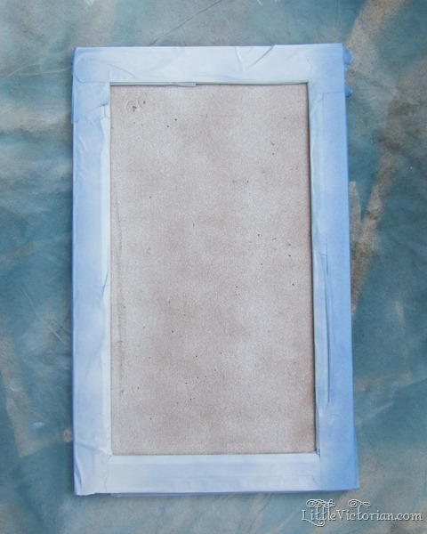 spray painting cork board white