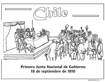 Colorear Primera Junta De Gobierno De Chile