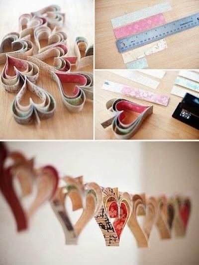 Con papel también puedes hacer una decoración con corazones