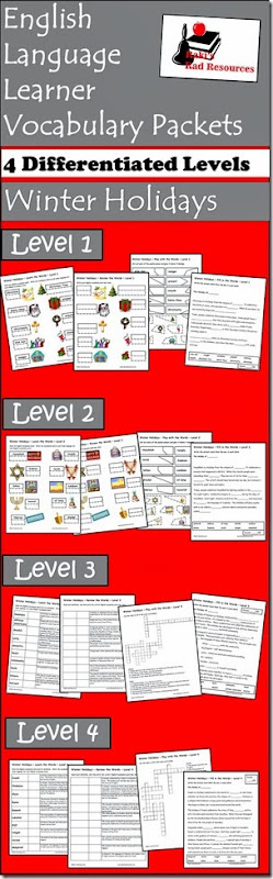 Vocab Packets - Winter Holidays - Christmas, Haunakah, Kwanza and Diwali vocabulary packet for ESL or ELL students