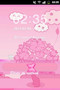 GO Locker Theme Pink Cat- screenshot thumbnail
