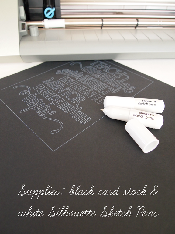 supplies black card stock and  Silhouette Sketch Pens