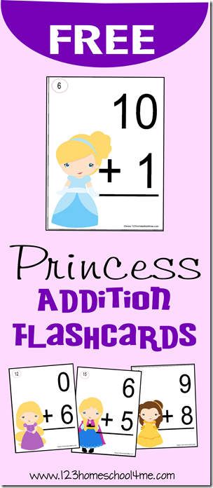 free princess addition flashcards. Black Bedroom Furniture Sets. Home Design Ideas