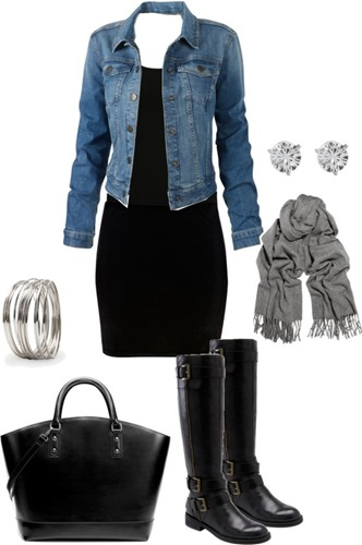 black dress jean jacket accessories combination of clothes fashion moda