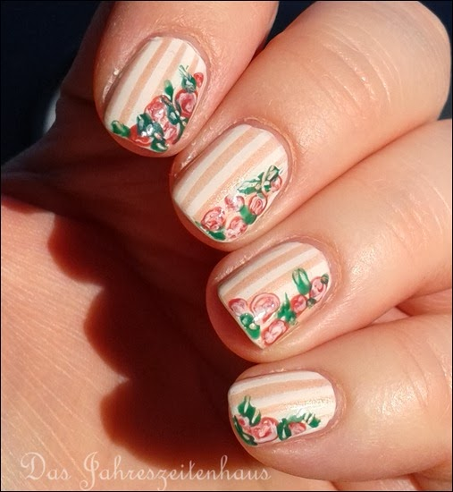 In Bloom Nail Art Roses Vintage Spring Design 6