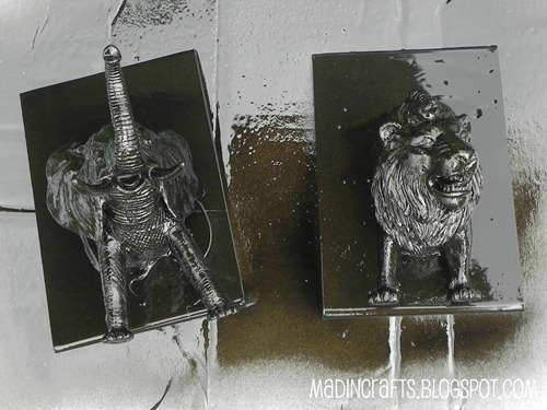 elephant and lion after spray paint