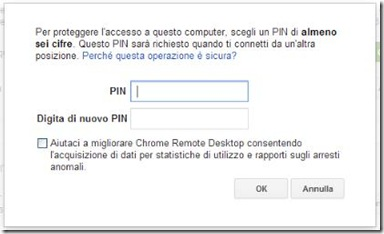 Chrome Remote Desktop creare PIN per connessioni remote