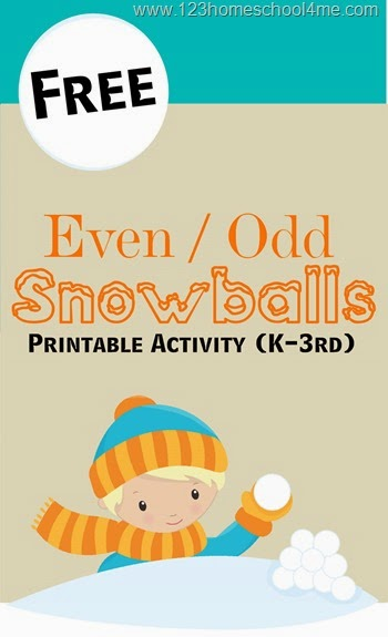 FREE Sorting Even Odd Numbers with this Snowballs activity (homeschool, math, math games, math activities, kindergarten, 1st grade, 2nd grade, 3rd grade)