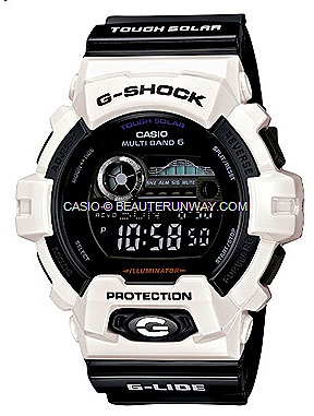 CASIO G-SHOCK GWX-8900B G-LIDE 2012 WATCHES SPRING SUMMER SURF TIDAL GRAPH pure black and white duo tone tidal wave surf movement moon graphs atomic Timekeeping tough solar power G-FACTORY SINGAPORE