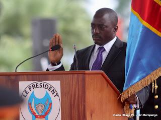 Joseph Kabila Kabangé le 20/12/2011 à Kinshasa, durant sa prestation de serment devant des juges de la cours suprême de la justice de la RDC. Radio Okapi/ Ph. John Bompengo