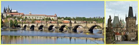 Puente de Carlos; a la derecha un detalle de una de las torres de defensa y una de sus esculturas