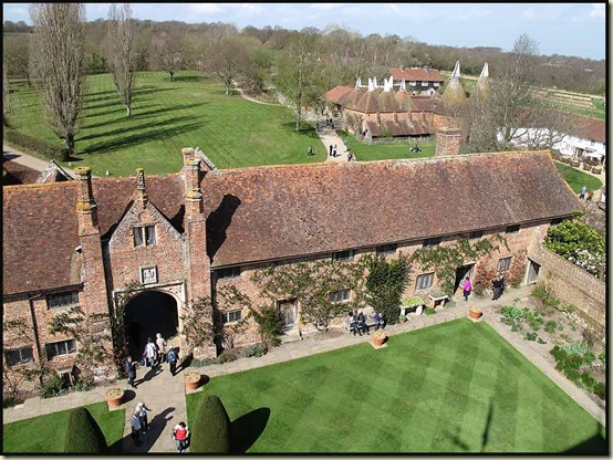 View to the library and oast houses, from Sissinghurst Castle Tower