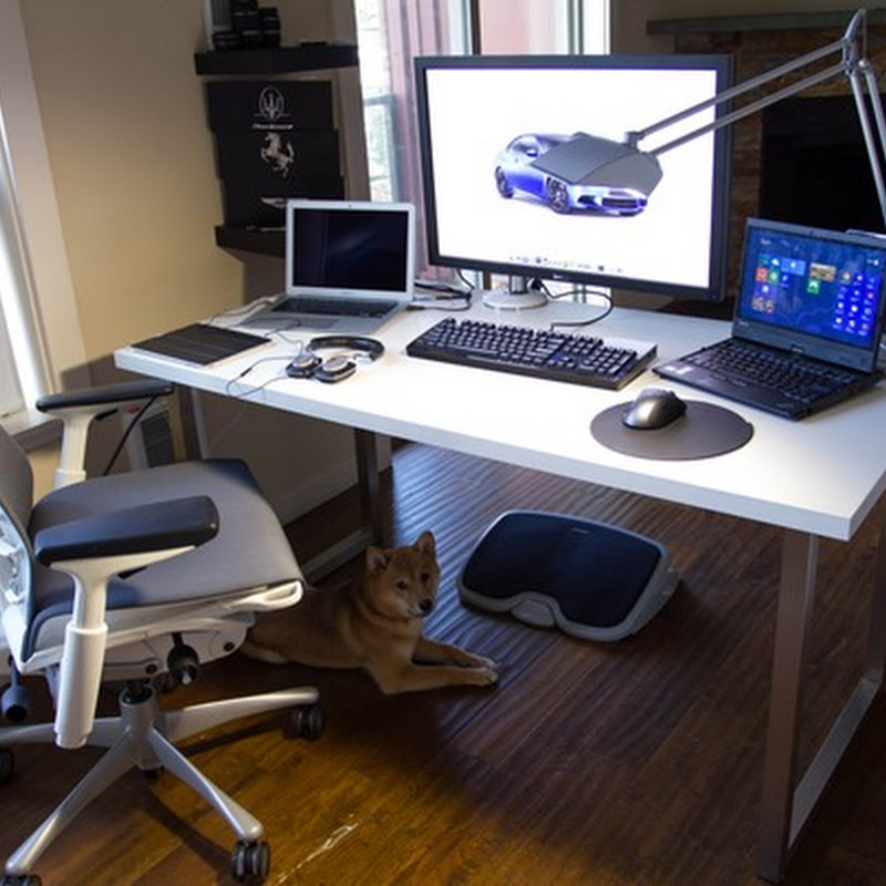 Simple Clean White Computer Desk And Chair