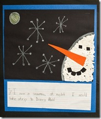 Snowman writing activity for first grade