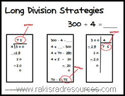 Free printable poster with three different strategies to solve a long division problem.