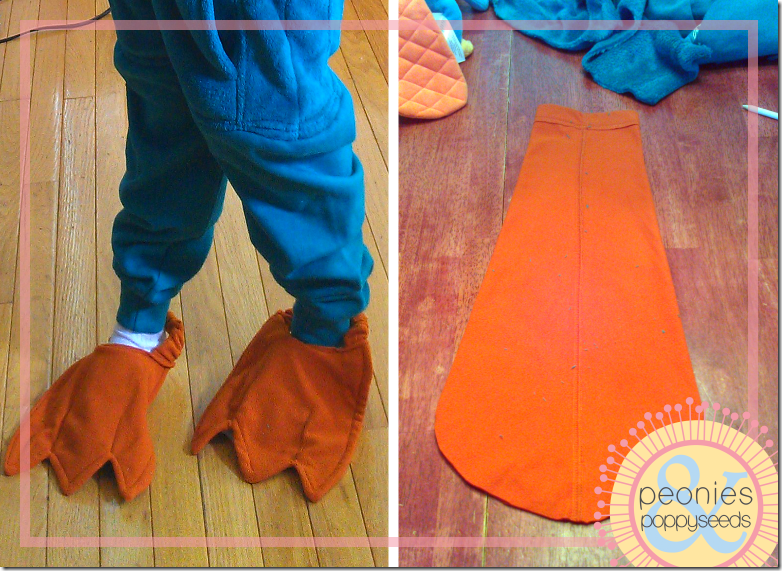 DIY Perry the Platypus - shoe covers and tail