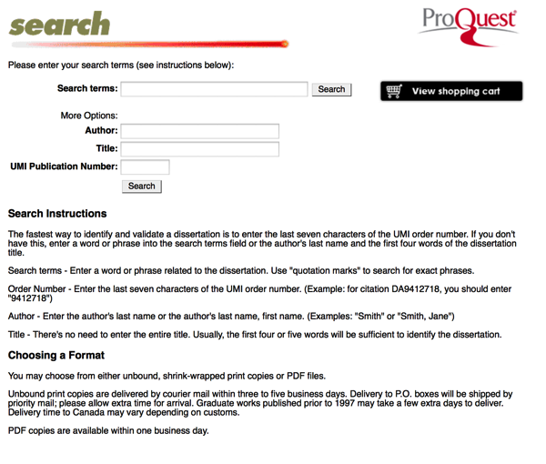 Proquest thesis database url