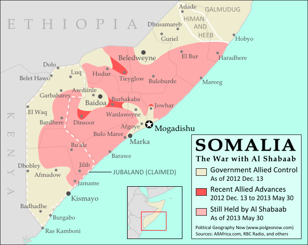 Map of Al Shabaab control in southern Somalia just before June 2013, highlighting recent advances by government and African Union troops since December. Includes the newly recaptured Mogadishu-Baidoa highway corridor, plus Bulo Marer, site of crashed U.S. drone aircraft. Also marks claimed territory of Jubaland state.