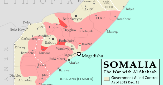 War in Somalia: Map of Al Shabaab Control (June 2013 ... Administrative Map Of Ethiopia on