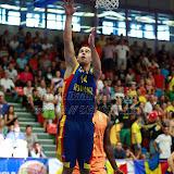 Titus Nicoara inscrie doua puncte in meciul de calificare la Eurobasket Slovenia 2013, dintre Romania si Olanda disputat in Sala Transilvania din Sibiu, miercuri 15 august 2012.