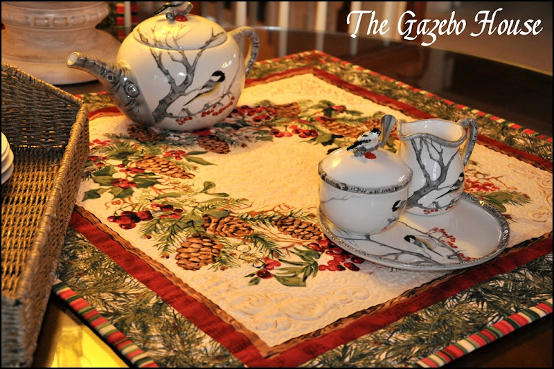 Sewing group with Chickadee quilt & tea set 031